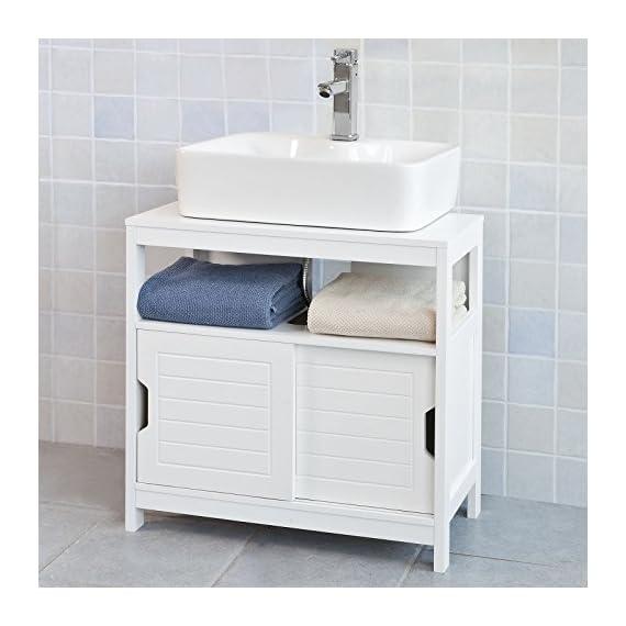 Haotian White Under Sink Bathroom Storage Cabinet with Shelf and Double Sliding Door,Bathroom Vanity (FRG128-W) -  - bathroom-vanities, bathroom-fixtures-hardware, bathroom - 51bC22KmaML. SS570  -