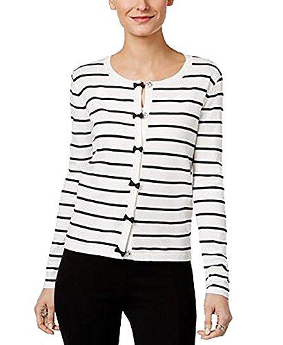 nit Striped Cardigan Sweater B/W S (Silk Striped Sweater)