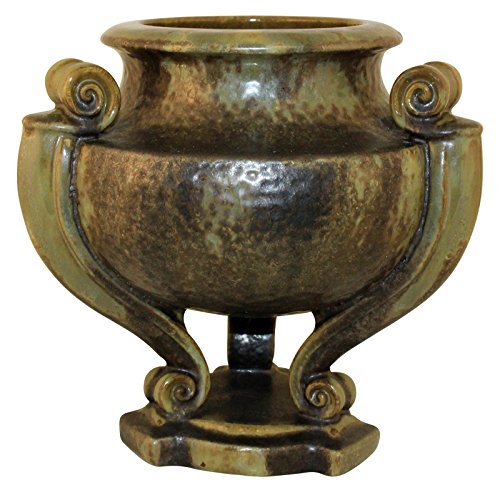 Fulper Pottery Cucumber Green Crystalline Buttressed Jar With Pedestal Shape 569