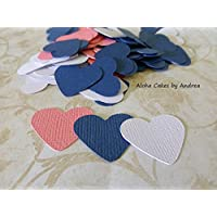 Navy, Coral and White Heart Confetti, Wedding Table Decorations, Bridal Shower Ideas, Baby Shower Confetti, 1 inch Hearts, Paper Heart Die Cut, Set of 150