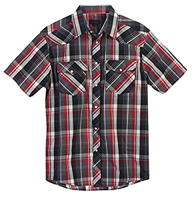 Gioberti Men's Short Sleeve Plaid Western Shirt W/ Pearl Snap Buttons