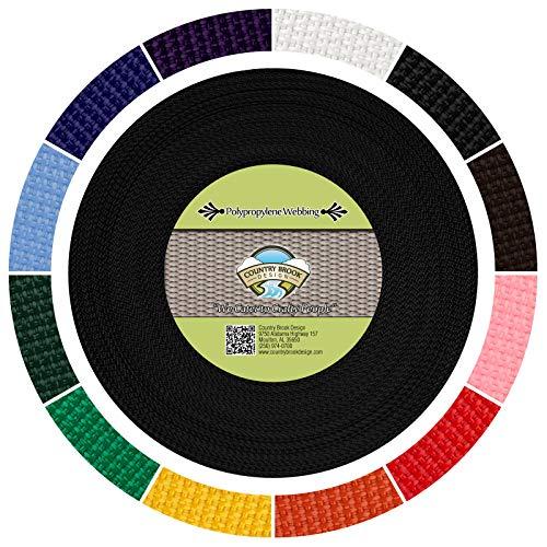 Country Brook Design - Black Polypropylene 1/2 Inch Webbing (25 Yards) (Thin Nylon Webbing)