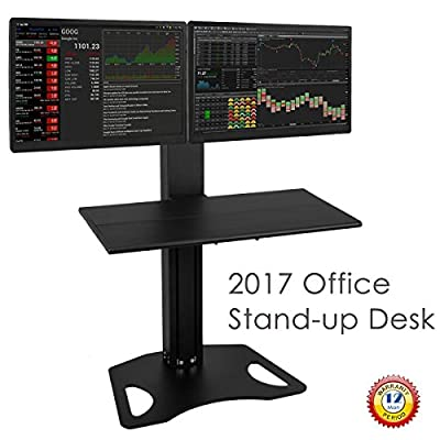 H&A Dual Monitor Mount Sit-Stand Desk Standing up Workstation Height Adjust