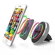 iBenzer Basic MagOn One Touch CellPhone Metal Air Vent Magnetic Universal Car Mount Holder for All Smartphones, iPhone 6/6S/Plus Samsung Galaxy Note HTC LG Sony Nokia Motorola (Silver CA-CMHAV02MGY)