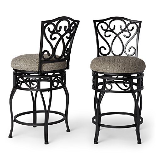 (Classic Armless 24-inch Metal Frame Round Seat Swivel Counter Stools (Set of 2) Black)