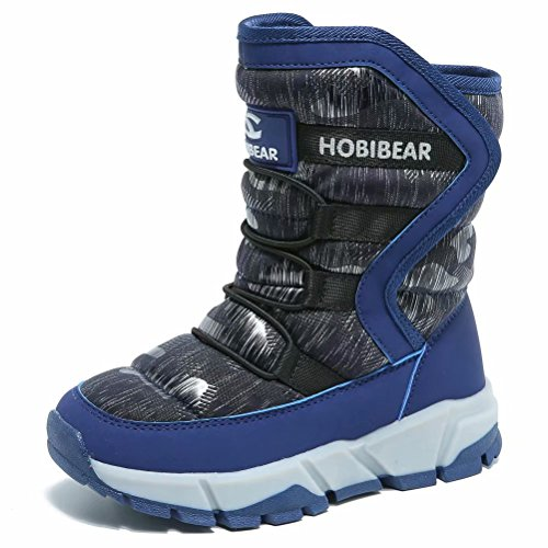 BODATU Boys Snow Boots Outdoor Waterproof Winter Kids Shoes Toddler 10, Navy]()