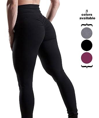 Amilia Women s Butt Lift Stretch High Waist Leggings Gym Yoga Workout Pants  Activewear Skinny Tights ( 8cc6a18874