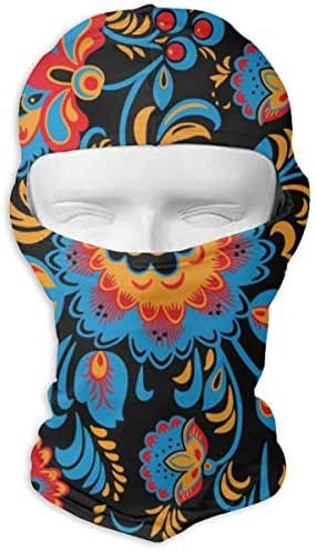 Traditional Russian Hohloma Ornament with Flowers in Bright Colors Full Face Mask Hood Sunscreen Mask Cycling Hunting Hiking Skiing Mask Dual Layer Cold for Men and Women