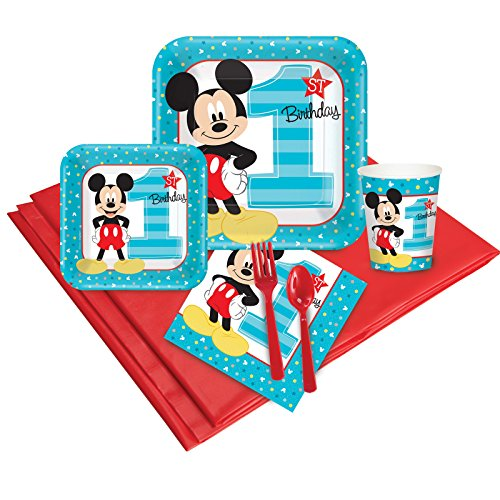 BirthdayExpress Disney Mickey Mouse 1st Party Supplies - Party Pack 8