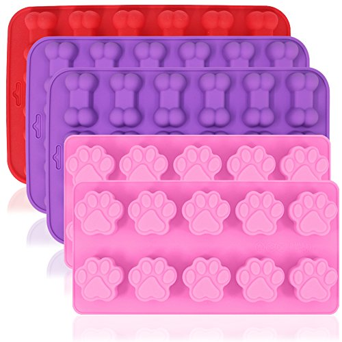 Dog Paw and Bone Shaped Silicone Molds, AIFUDA 5 Pcs Food Grade Puppy Treat Trays, Reusable Bakeware for Baking Chocolate Candy Jelly, Oven Microwave Freezer Dishwasher Safe -Pink, Purple, Red