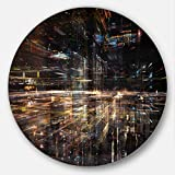 Design Art Designart MT6975-C11 Glow of Technology - Contemporary Large Disc Metal Wall Art - Disc of 11'',Black/Yellow,11 X 11