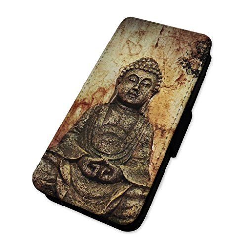 antico spirituale statua di Buddha–Good Luck–Custodia ad aletta in pelle copertura di carta Apple iPhone 5C
