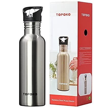 c6d3aecc78 TOPOKO 25 Oz Single-Layer Stainless Steel Water Bottle Sports Bottle Flip  Top Spout With Nylon Sleeve by TOPOKO: Amazon.co.uk: Kitchen & Home