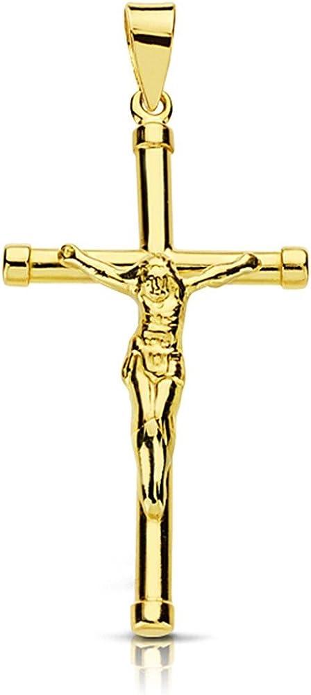 Colgante cruz crucifijo oro 18k Cristo 32mm. palo redondo terminaciones chatones unisex