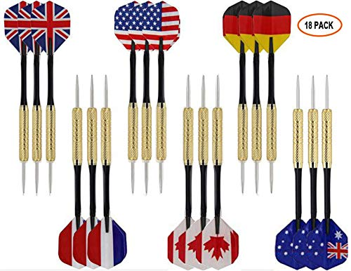 Weahre 18 Pack Steel Tip Darts with Aluminum Shafts, Brass Barrels, National Flag Flights and Extra Dart Rods for Rec Room, Man Cave, Bar and Game Room