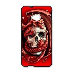 Diy Dragon Skull Phone Case for HTC One M7 Black Shell Phone JFLIFE(TM) [Pattern-1]