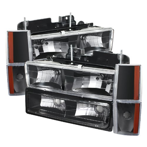 - GMC C/k Series 1500/2500/3500 88-93 / GMC Sierra 88-93 / GMC Yukon 92-93 (Don?t Fit Model W/sealed Beam Headlights) Crystal Headlights w/Corner & Bumper Black Housing with Clear Lens