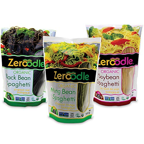(Zeroodle 3-Pack Combo Low Net Carb Gluten Free Pasta - Organic Spaghetti Noodles - Mung Bean, Black Bean, and Soybean Pasta - High Protein)