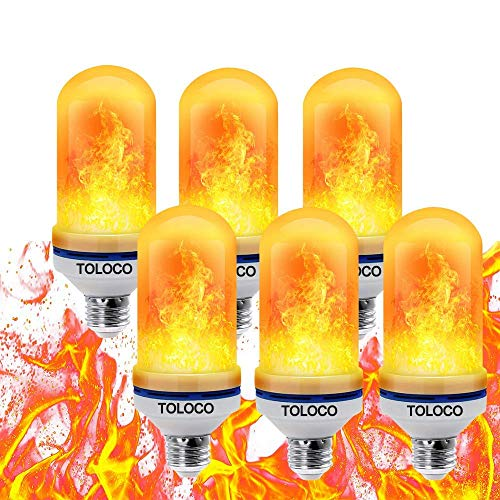 TOLOCO LED Flame Effect Light Bulb - 4 Modes with Gravity Induced E26 Standard Base LED Bulb-Simulated Realistic Burning Fire,Antique Lantern Atmosphere Valentine's Day Decorations for Home(6 Pack)]()