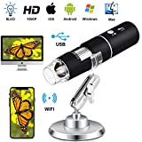 Wireless Digital Microscope Handheld USB Magnification Microscope Camera 50-1000X Zoom 1080P 2.0 MP Mini WiFi Microscope Portable Pocket Microscope 8 LED for Android Phone iPhone Table Windows Mac (Color: black)