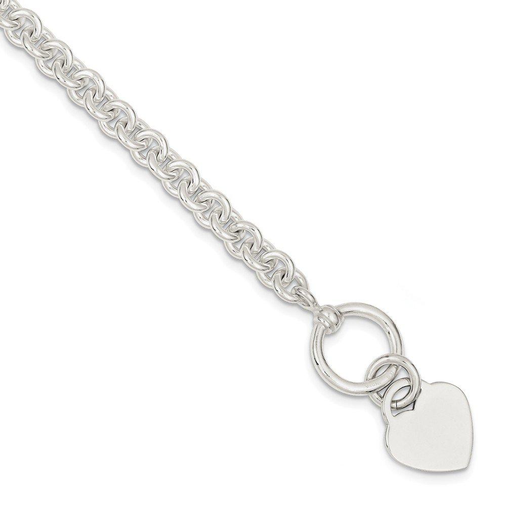 Sterling Silver Engraveable Heart Disc on Fancy Link Toggle Bracelet