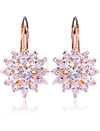 18K Rose Gold Plated Cubic Zirconia Snowflake Lever Back Earrings for Women Girls CZ Jewelry Stud Fashion Earrings 3 Style Rose Glod & White CZ