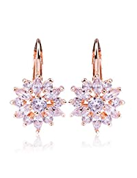 Presentski 18K Gold Plated Hoop Stud Earrings Flower Design with Austria Cubic Zirconia