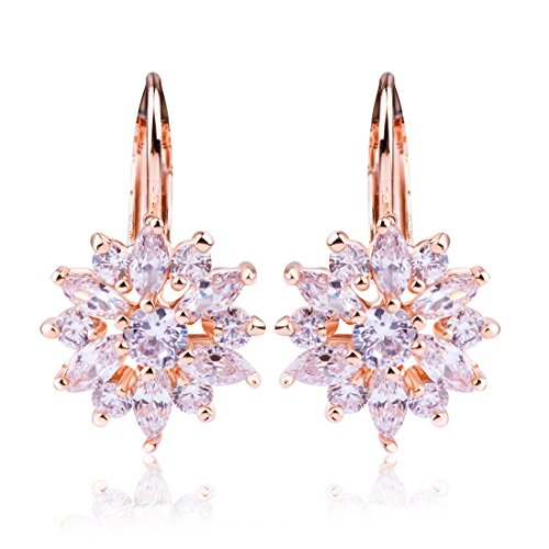 Bamoer Earrings Big Deal !! Luxury Champagne Gold AAA Color Zircon Cz White Crystal Flower Wedding Earrings Woman Lady Stud Earring Fashion Drop Dangle Jewelry Gift