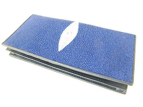 PELGIO Genuine Stingray Skin Checkbook Wallet Clutch Purse (Cobalt Blue)