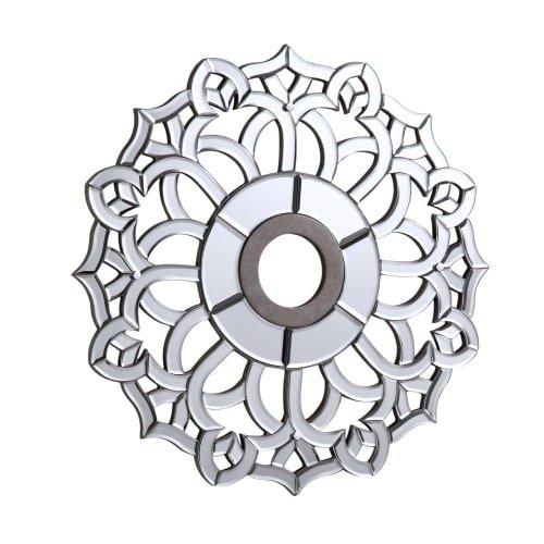"""Elegant Lighting 32"""" Mirrored Medallion Ceiling Canopy in Silver from Elegant Lighting"""
