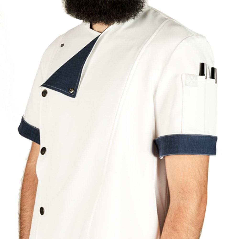 Crew Apparel Men's Chef Coat The Hipster Made In America … (Small, White) by Crew Apparel (Image #3)