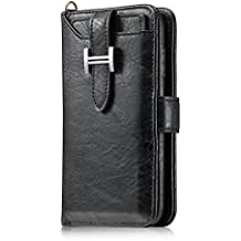 iPhone XR Leather Phone Case,Miya Detachable Slim Wallet Case Credit Card Slots Premium Pu Leather Magnetic Phone Case Zipper Pocket Protective Stand Case 6.1 inch Apple iPhone XR - Black