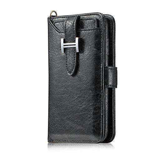 5.8'' iPhone 10 Cover, TecCode Luxury Premium Synthetic Leather Credit Card Slots Wallet Case Magnetic Closure Cover Zipper Handbag for Apple iPhone X 5.8 Inch(Black)
