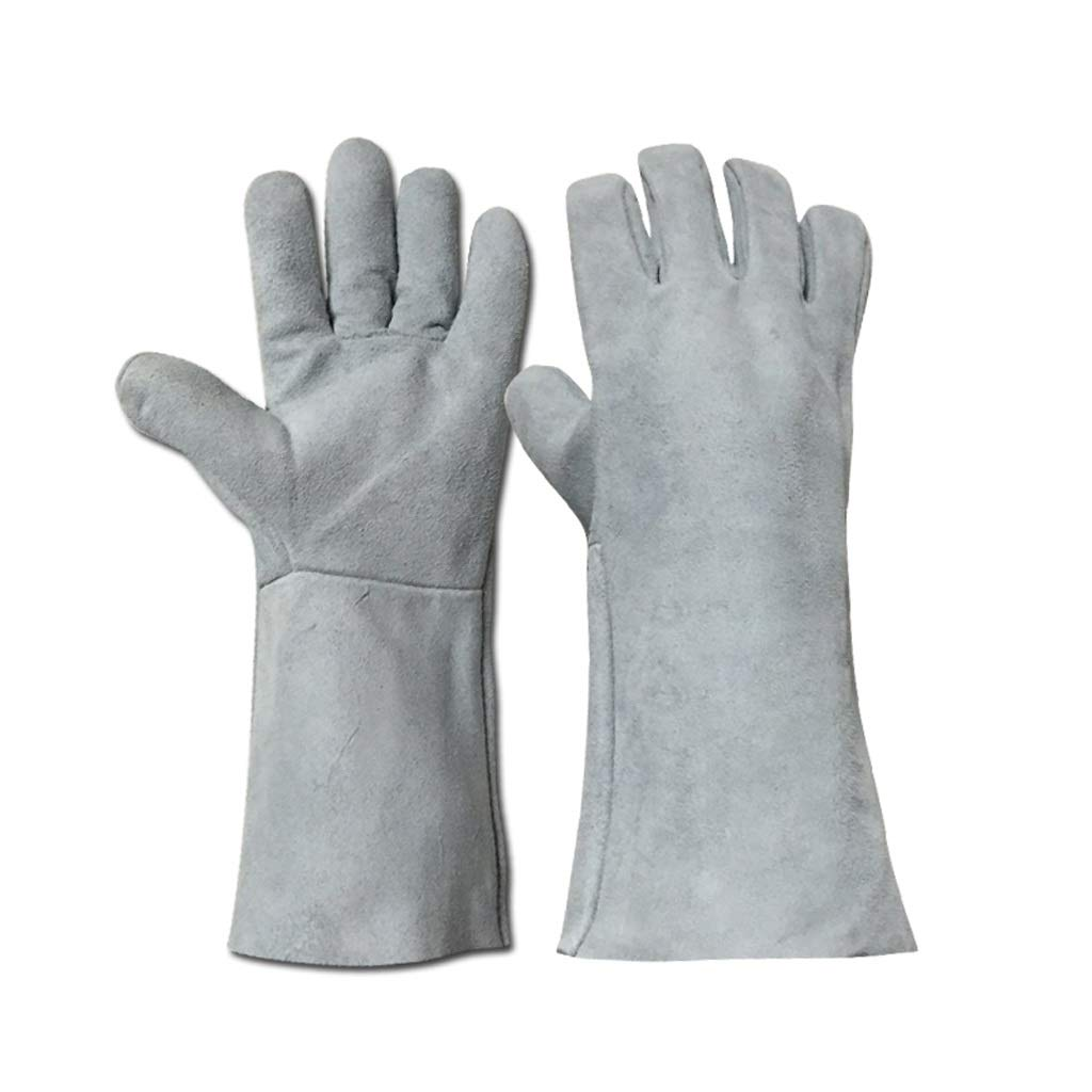 BLRYP Gloves Soft Cowhide Electric Welding Long Resistant High Temperature Anti-scalding Labor Insurance Welder Welding Special Cold Storage Cryo Work Glove 13.9in Low Temperature Work