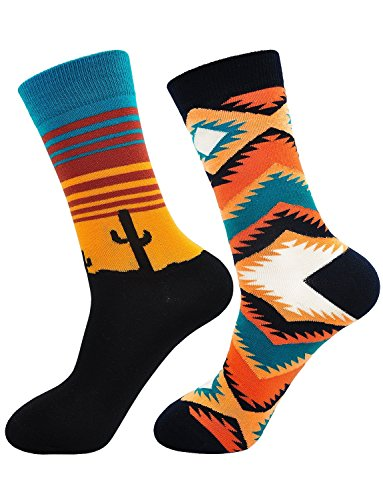 (Socks for Men Artfasion Crew Mens Dress Colorful Cotton Funny Gift Performance Running Socks (Colorful Mixed Color-2 Pairs, US Mens Shoe Size 7-11))