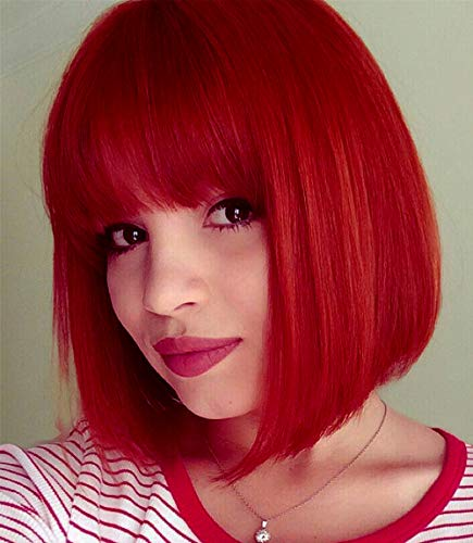 Red Wig Bob (Short Bob Wigs Red Wig for Women with Bangs Straight Synthetic Wig Natural As Real Hair 12''with Wig Cap)