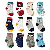 12 Pairs Toddler Boy Non Skid Socks Cute Cotton with Grips, Baby Boys Anti-Skid Socks (12-36 Months, 12 Pairs Plane & Car)