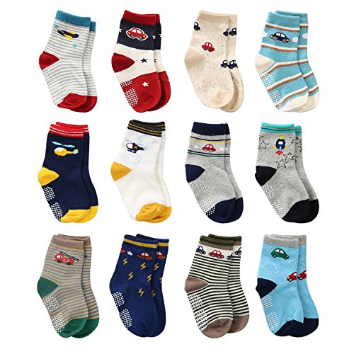 12 Pairs Toddler Boy Grips Socks, Baby Socks Boy Infant Cotton Crew Socks Anti Slip for Kids (7-9 Years, 12 Pairs Plane & Car)