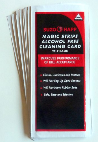 Alcohol Free Dollar Bill Validator / Acceptor Pre-saturated Cleaning Card - Bill Belt