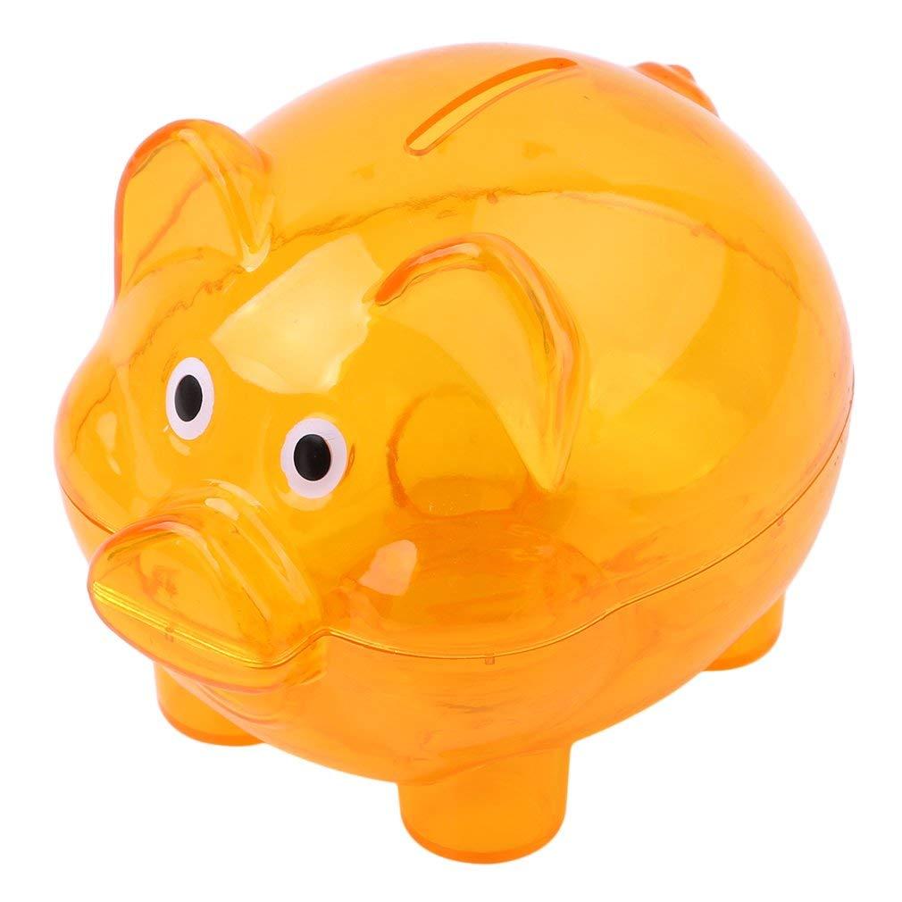 Yevison Piggy Bank,1PC Random Money Box Saving Coins Cash Fun Gift Plastic Pig Safe Transparent Kid,Orange Durable and Useful by Yevison