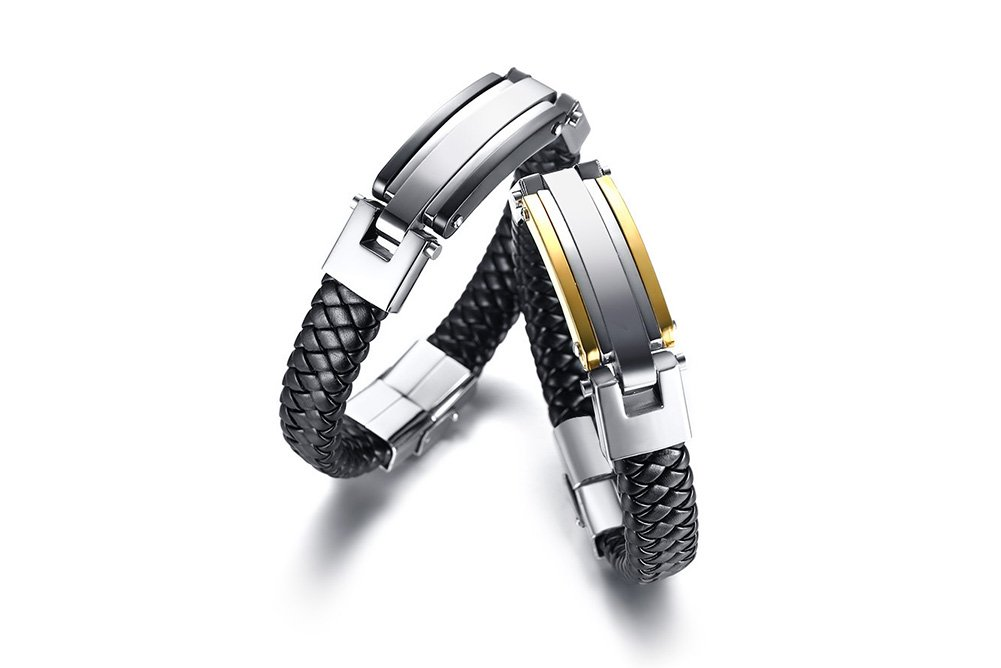 VNOX Custom-2 Tone Handmade Genuine Leather Braided Stainless Steel ID Tag Couple Bracelet for Him Her