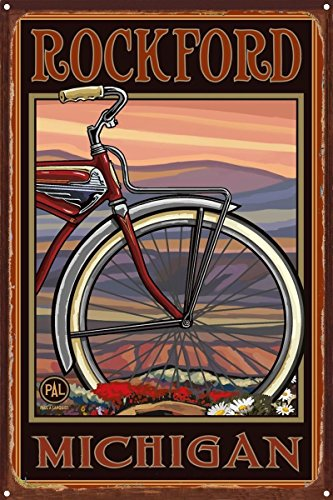 Rockford Michigan Old Half Bike Rustic Metal Art Print by Paul A. Lanquist (12