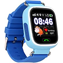 Kids Children Smart 1.22 inch IPS Color Touch Screen SOS Call GPS LBS WIFI Location Tracker Safe Anti Lost Monitor Smart Watch Blue English Version