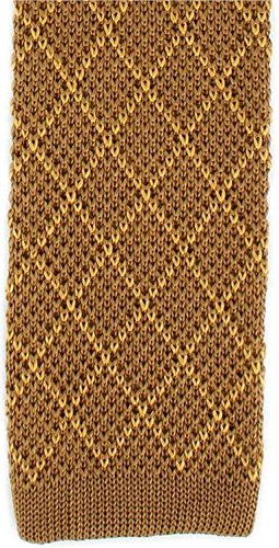 Michelsons of London Mens Diamond Silk Knitted Skinny Tie - Brown/Gold ()