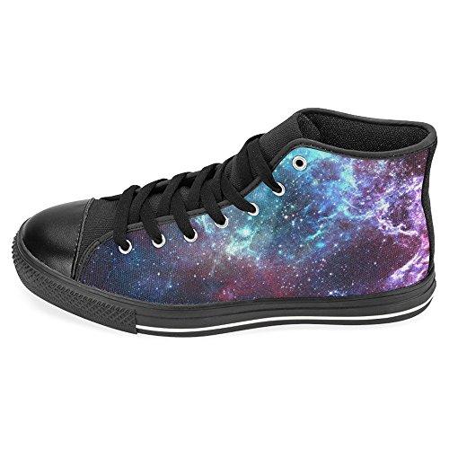 Rentprint Dames Canvas Schoenen Hoge Sneakers Sneakers Veterschoenen Veter Sneakers Modevorm Nevels Gascongestie Zwart