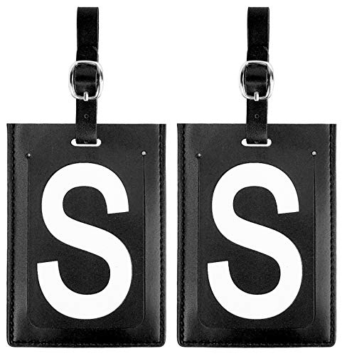 (Personalized Leather Luggage Tags (Matching Set of 2): High-Contrast Debossed Initial S - Flexible Custom Travel Tags w/Extra Address Cards & Privacy Flap to Protect Personal Information (2-pack, S))