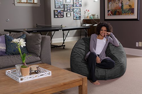 Sofa Sack – Plush, Ultra Soft Bean Bag Chair – Memory Foam Bean Bag Chair with Microsuede Cover – Stuffed Foam Filled Furniture and Accessories for Dorm Room – Charcoal 4
