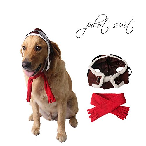 Pet Supplies Dog Hat Red Scarf Pilots Warm Hat (one size) by ABLAZE ZAI (Image #6)
