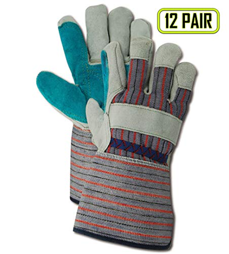 Magid Glove & Safety TG255EDP Magid Top Gunn Select Double Leather Palm w/Rubberized Cuff, Large, Gray, Large (Pack of -