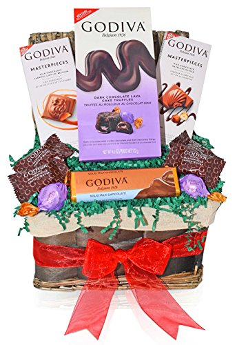 Godiva Christmas Chocolate Variety Gift Basket - Godiva Masterpieces & Milk, Dark, Hazelnut Chocolate & Assorted Truffles and more - Christmas Gift for Family, Friends, Him, Her (Chocolates For Him)